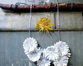 First Anniversary Gift - Paper Jewelry - Romantic Flower Bib Necklace