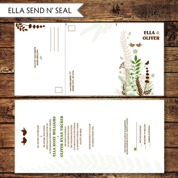 Printable Seal and Send Wedding Invite, Custom Send n' Seal Wedding Invitation, All in One Invite, Digital File to Print at Home - ELLA