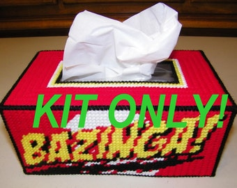 Bazinga Tissue Box Cover Kit - All Materials,Video Tutorial & Pattern Only. Big Bang Theory Extra Yarn Provided Rubik