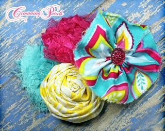 Pink, Yellow, Turquoise Baby Girl Hair Bow, Spring Brights Hair Accessories, Aqua, Fuchsia Headband, Fabric Flower Hair Clip, Fabric Flowers