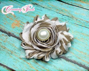Tan, White, Shabby Chiffon Flower, Single Shabby Flower Headband, Beige Shabby Trim, Flower Hair Bow, Fabric Flowers