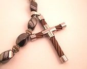 Magnetized Hematite Beaded Necklace With Unique Copper Wire Cross