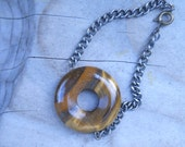 Tiger's Eye Ring On Gun Metal Chain Bracelet