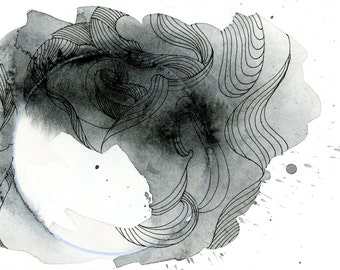 """Octopus Painting - Push the Sky Awaytopus  - Fine Art Giclee Print of 6""""x4"""" Grayscale Watercolor Painting"""