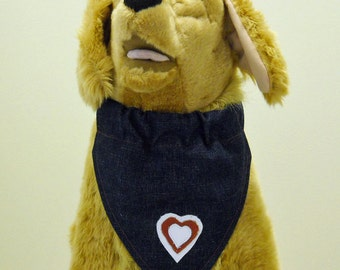 Pet Bandana Denim With Genuine Leather 3 Hearts Size Large