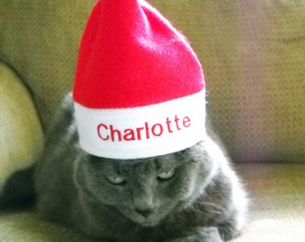 Christmas Pet Personalized Santa Hat  SMALL  Photo Prop   Santa Hat With Name