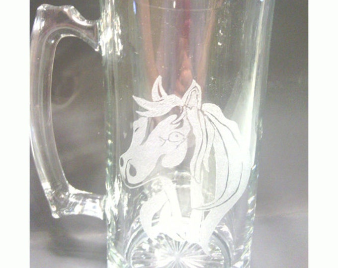 Horse Head Engraved on a Large Glass Mug