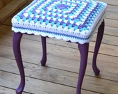 "Stool 17""  high with Granny Square Crochet Cover Purple Upcycle Recycle littlestsister - LittlestSister"