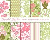 Digital Scrapbook Paper Pack Scrapbooking Background Papers 8.5 x 11 10 Sheets Old FLORAL Damask Pink GreenWhite 1656gg