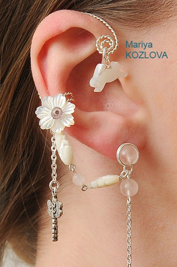 Earrings With An Ear Cuff For The Right Ear Fairy By
