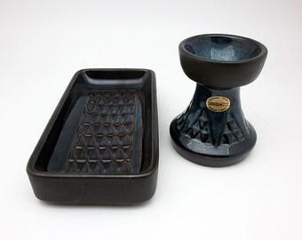 Soholm set: candle holder & tray by Einar Johansen (Denmark, 1960s)