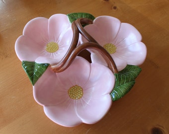 Vintage Pink Flowered Three Plate Candy Dish