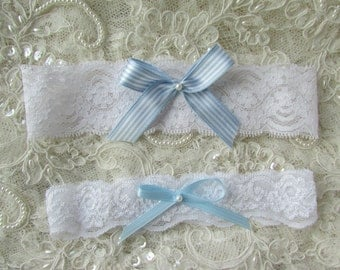 SALE White  Lace Garter with blue bow - SET, something blue garter