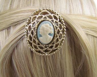 Light Blue Cameo Hair Piece Vintage Blue Cameo Hair Comb Victorian Hair Accessories Light Blue Bridal Hair Comb Victorian Accessories Cameo