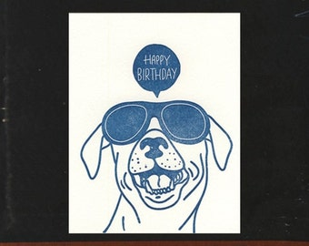 Dog Party letterpress birthday card