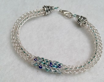 Ladies beaded viking knit non tarnish silver plate bracelet, silver and blue