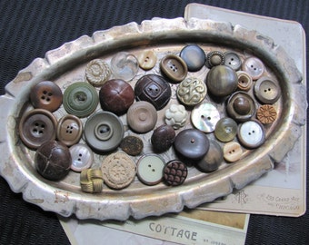 Lot of 37 Assorted Metal Celluloid Fabric Plastic Glass Buttons