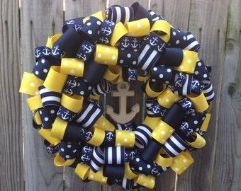 Preppy Nautical Wreath - 14 Inch - Navy Anchor Wreath - Custom Colors