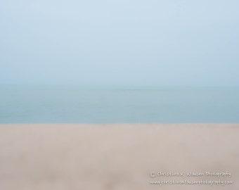 Abstract Seascape Photograph.  Beach Photo.  Beach Photography. Minimalist. Blue. Turquoise. Sand. Fine Art Landscape Photography
