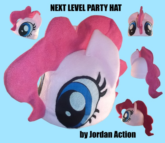 Embroidered Eyes - Pinkie Pie inspired Fleece Hat - My Little Pony