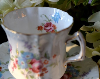 Hammersley Fine Bone China Tea Cup and Saucer, Floral and Embossed Scroll Motif, Gold Gilt, England