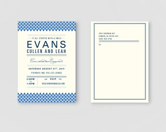 PRINTABLE Letterpress Style Wedding Save the Date Invitation or Engagement Party  Invite Announcement Calendar Card for DIY Brides & Grooms