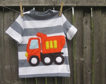 Little Boys Love BIg Dump Trucks Kids T- shirt