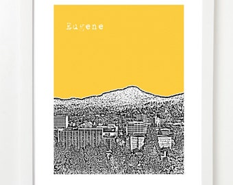 Eugene, Oregon Poster - Eugene City Skyline Art Print - Eugene, OR - College Town Art