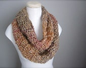 Crochet Multicolor Earth Tone, Brown, Beige, Pink, Lavender, Peach, Gold Infinity Scarf, Women's Scarf, Men's Scarf, Unisex Scarf