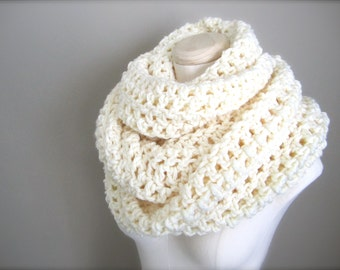 Crochet Extra Wide, Extra Long, Chunky, Ivory, Off White, Winter White, Cream Cowl Infinity Scarf, Women's Scarf, Men's Scarf, Unisex Scarf
