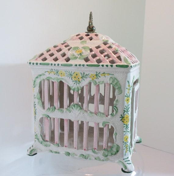 Italian Ceramic Bird Cage Shabby Chic Meiselman Imports
