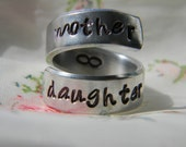 mother daughter forever aluminum swirl  style  ring 1/4 inch