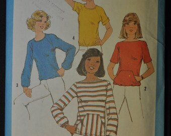Misses' Pullover Tops Size 16 Vintage 1970s Sewing Pattern Simplicity 8343