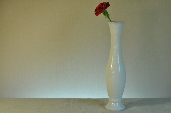 Vintage white milk glass tall skinny vase by classiccabin