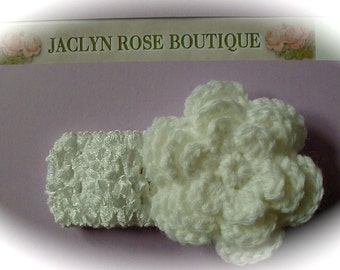 SALE stretchy white HEADBAND with white crochet flower size from newborn baby to older girls christening baptism great for photo prop