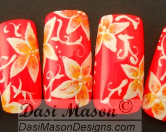 Neon Orange with Yellow and White Floral Accent Instant Nail Set