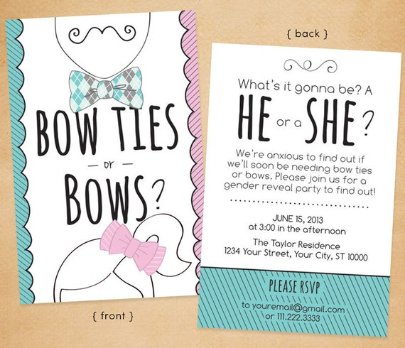Items similar to Printable gender reveal party invitation ...