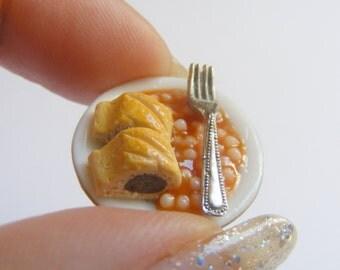 Food Jewelry Sausage Rolls and Beans Miniature Food Ring - Miniature Food Jewelry,Mini Food Jewellery,Handmade Jewelry