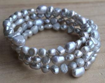 gray pearl bracelet,4 rows 6-10mm freshwater pearl bracelet,wedding Party,bridesmaid jewelry,wedding bracelet,bridesmaid bracelet