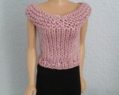 Handmade clothes, Hand knitted Barbie Vintage cotton sleeveless top, sweater D221