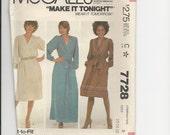 UNCUT Sewing Pattern McCalls 7728 for Dress, Sz 12-14-16, 1980s