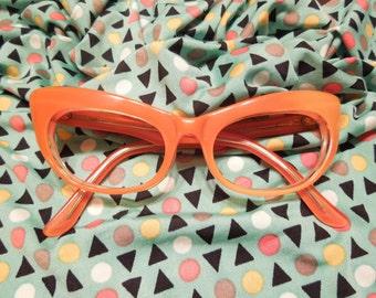 Vintage Orange Cat Eyes TWEC France FREE Shipping
