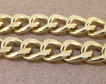 Cut Twist Light Gold Plated Metalic Aluminium Chunky Curb Chain ----- 15mmx 19mm---thickness about 4mm----38""