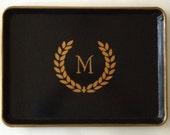 L gold laurel wreath  monogram  black tray