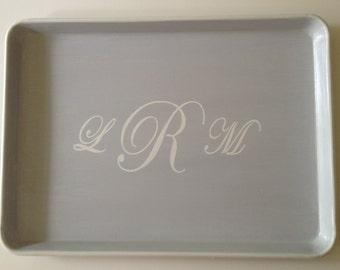L whitewash monogram gray  tray