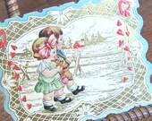 VINTAGE Valentine Card Antique Embossed 1920s winter Scene