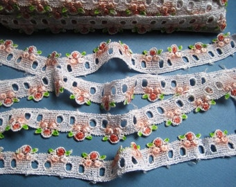 "REMNANT - Victorian Venice Lace Beading, White / Rose / Pink / Mint , 1"" inch wide, For Dolls, Scrapbook,Decor, Accessories, Mixed Media"
