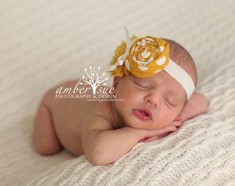 Mustard and Ivory Baby Flower Headband, Newborn Headband, Baby Girl Flower Headband, Photography Prop
