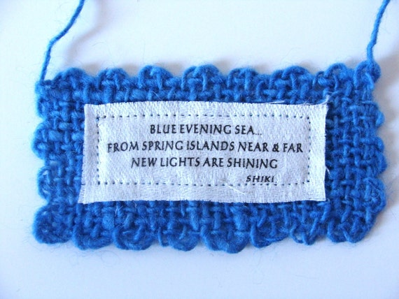 Blue Evening Sea Spring Japanese Haiku Small Wall Hanging Handwoven Handspun