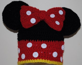 Crocheted Minnie Mouse Hat for Child (or any Minnie Mouse Fan)